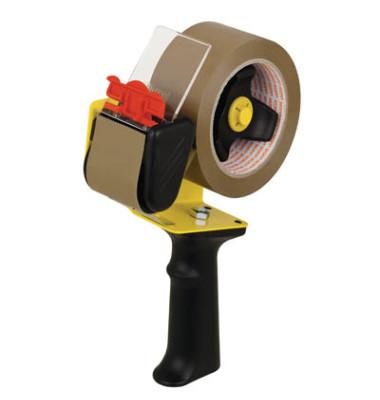 Packbandabroller Economy leer schwarz / gelb  für Packband bis 50mm x 66m