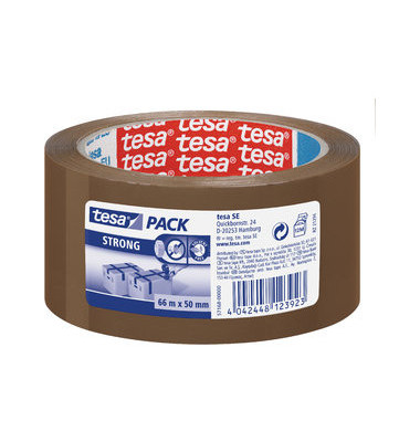 Packband Tesapack Strong 57168-00000-05, 50mm x 66m, PP, leise abrollbar, braun
