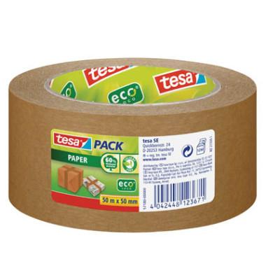 Packband Tesapack Paper ecoLogo 57180-00000, 50mm x 50m, Papier, handabreißbar, braun