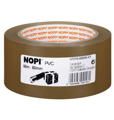 Packband 57215-00000-01, 50mm x 66m, PVC, leise abrollbar, braun