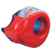 Klebefilmabroller Mini 19mm x 10m rot/blau kristallklar