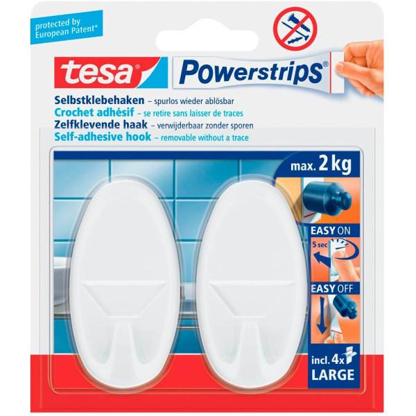 tesa powerstrips mit 2 haken oval weiss 4 st ck. Black Bedroom Furniture Sets. Home Design Ideas
