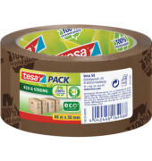 Packband Tesapack Eco & Strong 58155-00000, 100% recycled plastic, 50mm x 66m, PP, leise abrollbar, braun