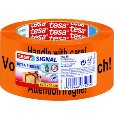 "Siganl-Packband rot ""Vorsicht Glas"" 50mm x 66m rot PVC"