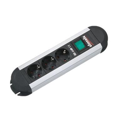 Steckdosenleiste Primo 3-fach schwarz/silber Kabel 1,75m mit Kindersicherung