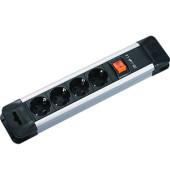 Steckdosenleiste Connectus 4-fach schwarz/silber Kabel 2m mit Kindersicherung