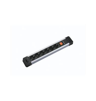 Steckdosenleiste Connectus 6-fach schwarz/silber Kabel 2m mit Kindersicherung