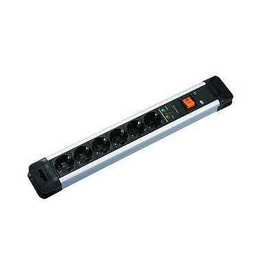Steckdosenleiste Connectus 6-fach schwarz/silber Kabel 2m mit Kindersicherung / Überspannschutz