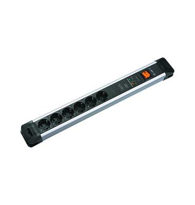 Steckdosenleiste Connectus 6-fach schwarz/silber Kabel 2m mit Kindersicherung / Überspannschutz / Netz- Frequenzfilter