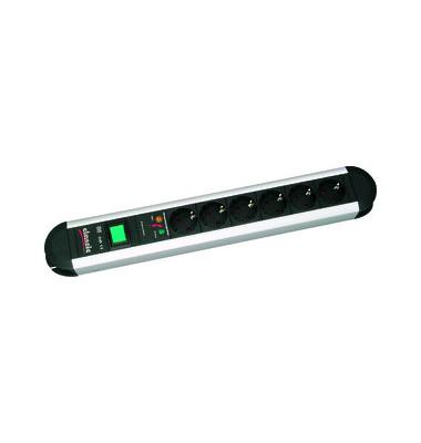 Steckdosenleiste Primo 6-fach schwarz/silber Kabel 1,75m mit Kindersicherung / Überspannschutz