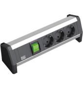 Modulsystem DESK mit 3x Schuko schwarz/silber mit Schalter beleucht