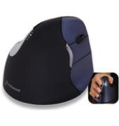 Vertikalmaus Evoluent 4, 5 Tasten, kabellos, USB-Funk, Rechtshänder, ergonomisch, hohe Auflösung, optisch, schwarz, silber