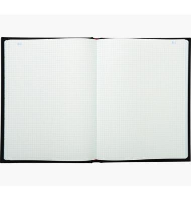 Geschäftsbuch 415E schwarz A4 kariert 110g 250 Blatt 500 Seiten paginiert