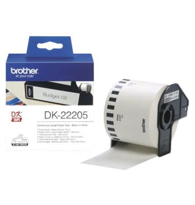 Etiketten DK-22205 62 mm x 30,48 m weiß auf Rolle