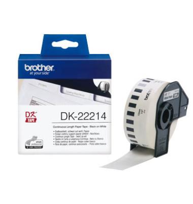Etiketten DK-22214 12 mm x 30,48 m weiß