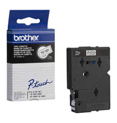 P-Touch Schriftband TC-101 schwarz auf farblos 12mm x 7,7m