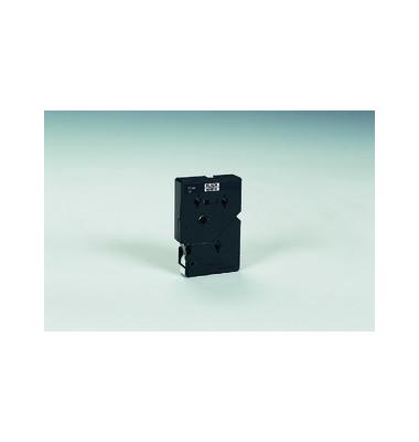 P-touch Schriftband TC-201 12mm x 7,7m schwarz/weiß laminiert selbstklebend 10 Stück