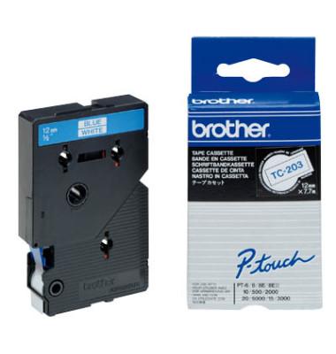 P-Touch Schriftband TC-203 blau auf weiß 12mm x 7,7m