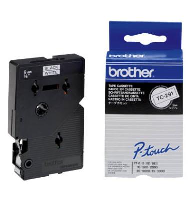 P-touch Schriftband TC-291 9mm x 7,7m schwarz/weiß laminiert selbstklebend