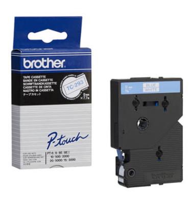 P-Touch Schriftband TC-293 blau auf weiß 9mm x 7,7m