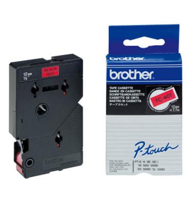 P-Touch Schriftband TC-401 schwarz auf rot 12mm x 7,7m