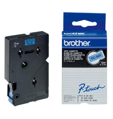 P-Touch Schriftband TC-501 schwarz auf blau 12mm x 7,7m