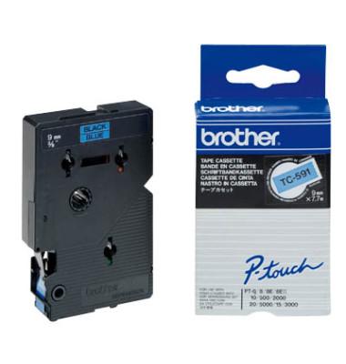 P-touch Schriftband TC-591 9mm x 7,7m schwarz/blau laminiert selbstklebend