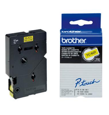 P-touch Schriftband TC-601 12mm x 7,7m schwarz/gelb laminiert selbstklebend