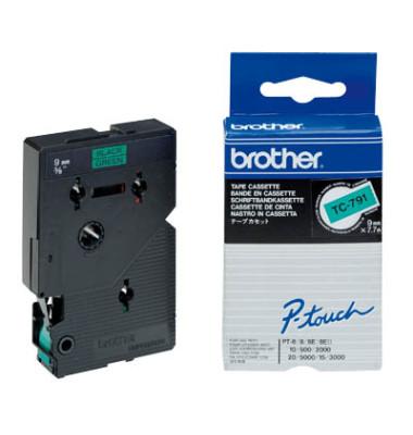 P-Touch Schriftband TC-791 schwarz auf grün 9mm x 7,7m