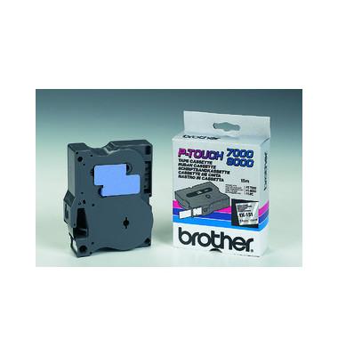 P-Touch Schriftband TX-151 schwarz auf farblos 24mm x 15,4m