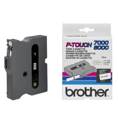 P-Touch Schriftband TX-231 schwarz auf weiß 12mm x 15,4m