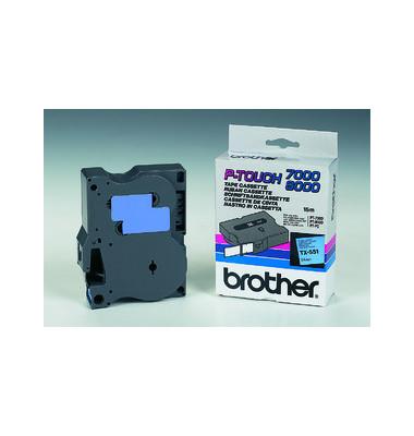P-Touch Schriftband TX-551 schwarz auf blau 24mm x 15,4m