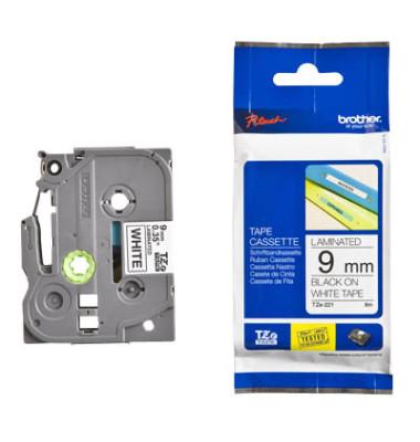 Schriftbandkassette TZe-221 9mm x 8m schwarz/weiß laminiert
