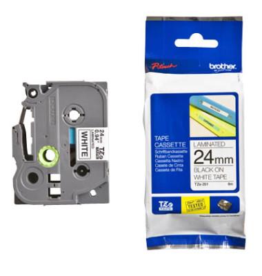 Schriftbandkassette TZe-251 24mm x 8m schwarz/weiß laminiert
