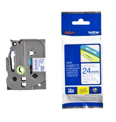 laminiert blau auf weiß 24mmx8m Brother TZe-253 Schriftbandkassette