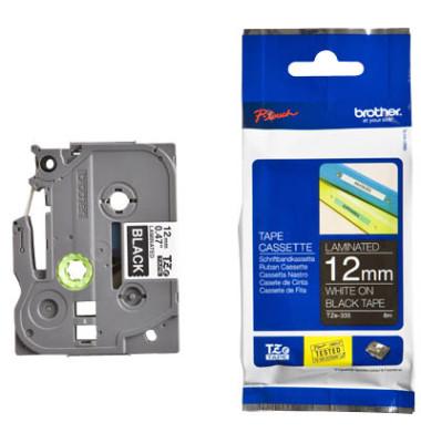 Schriftbandkassette TZe-335 12mm x 8m weiß/schwarz laminiert