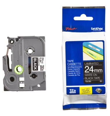 Schriftbandkassette TZe-355 24mm x 8m weiß/schwarz laminiert