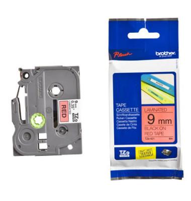 Schriftbandkassette TZe-421 9mm x 8m schwarz/rot laminiert