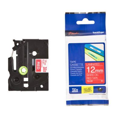 Schriftbandkassette TZe-435 12mm x 8m weiß/rot laminiert