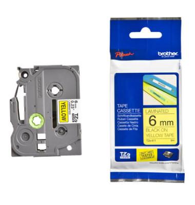 Schriftbandkassette TZe-611 6mm x 8m schwarz/gelb laminiert