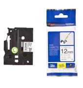 P-touch Kabel-Schriftband TZe-FX231 12mm x 8m schwarz/weiß laminiert selbstklebend