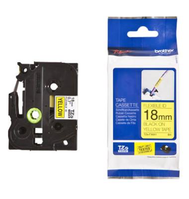 Schriftbandkassette TZe-FX641 18mm x 8m schwarz/gelb laminiert