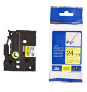 Schriftbandkassette TZe-FX651 24mm x 8m schwarz/gelb laminiert