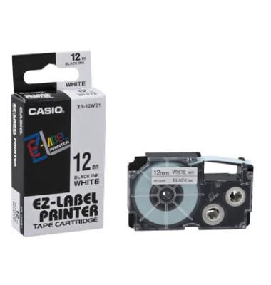 Schriftband XR-12WE1 12mm x 8m schwarz/weiß laminiert stark selbstklebend