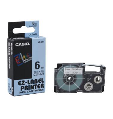 Schriftband schwarz auf farblos 6mm x 8,5m