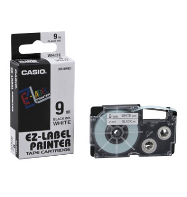 Schriftband XR-9WE1 9mm x 8m schwarz/weiß laminiert stark selbstklebend