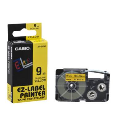 Schriftband XR-9YW1 9mm x 8m schwarz/gelb laminiert stark selbstklebend