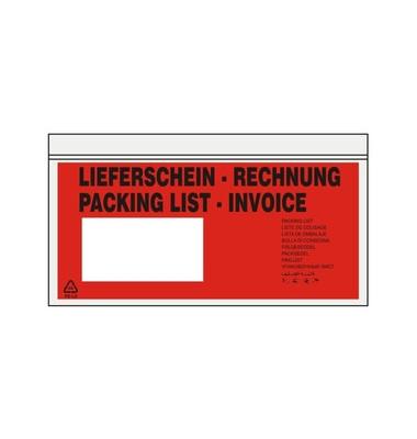 """Lieferscheintaschen Din Lang """"LIEFERSCHEIN - RECHNUNG"""" selbstklebend 1000 Stück 522182"""