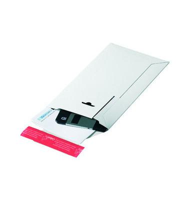 Versandtasche Rigid 210x265x30 mm B5+ ohne Fenster Vollpappe weiß 1 Stück