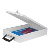Dokumentenkassette Stahlblech lichtgrau 35x26x7 cm mit Schloß